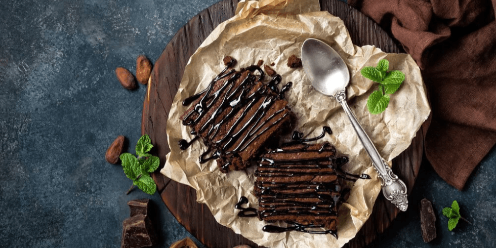 Brownies Drizzled with Chocolate Syrup