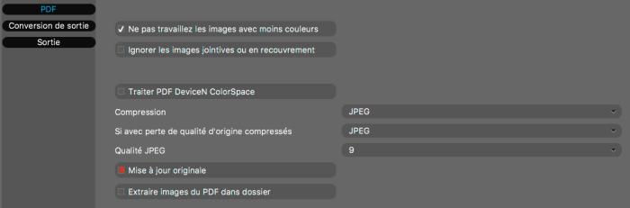 Taille des fichiers PDF dans Elpical Claro