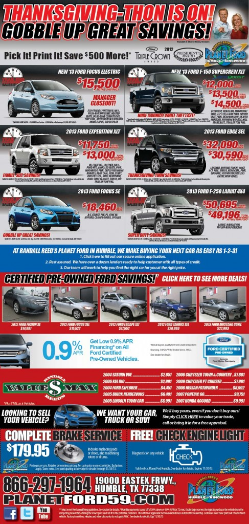 Planet Ford Humble Tx >> Planet Ford Serves Up Super Size Thanksgiving Savings