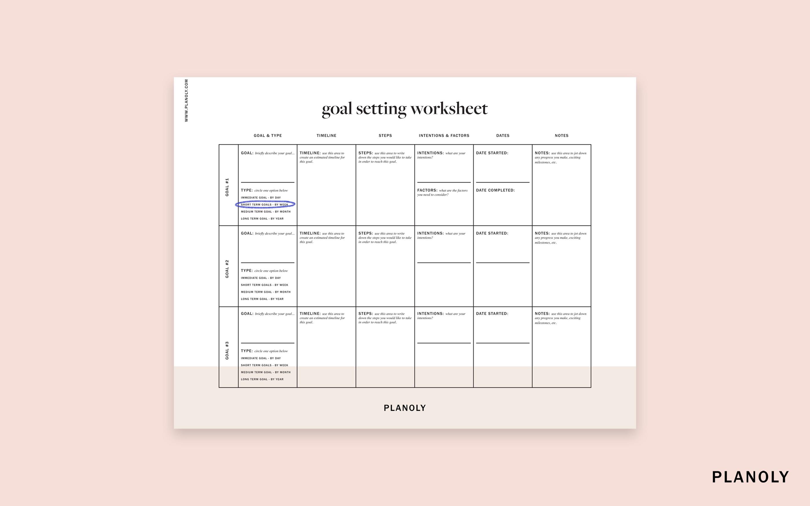 Planoly S Influencer Goal Setting Worksheet
