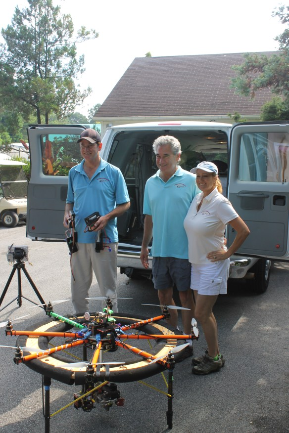 Helicam in landing platform with Roger, Richard, and Denise Mann