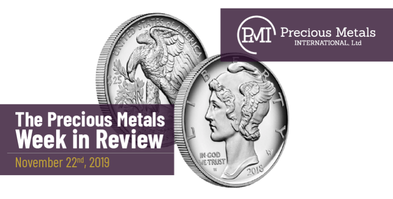 The Precious Metals Week in Review - November 22nd, 2019.