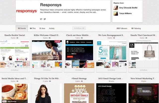 Mural da Responsys no Pinterest com modelos de e-mails