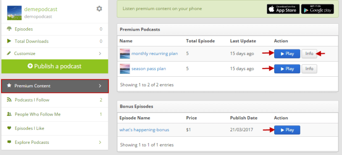 premium content list