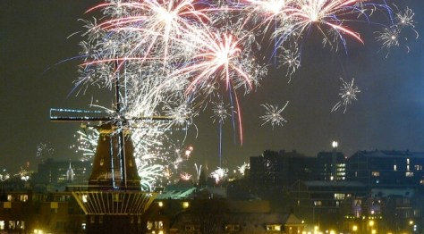 New Year fireworks over Amsterdam