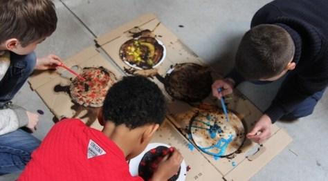 Children taking part in an art workshop in Brussels