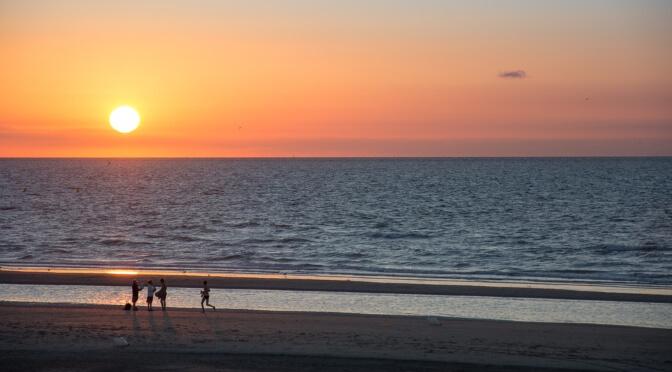 Sunset over Dunkirk beach