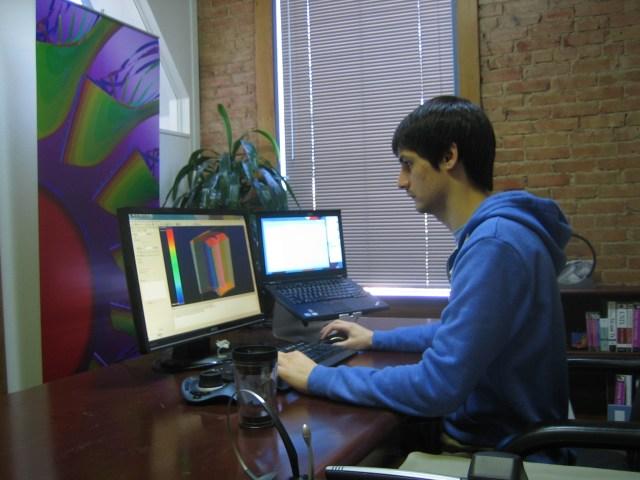 Travis Carrigan preparing for the Meshing Forensics short course.