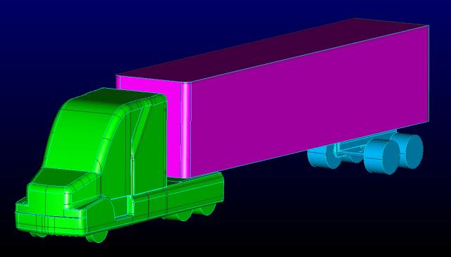 Watertight solid models representing the GCM semi truck and trailer.