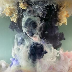 Artist Kim Keever photographs industrial paint dropped into a 200 gallon fish tank.