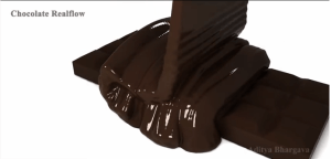 Mmmm. Chocolate. Screen capture from a video of a Realflow simulation.