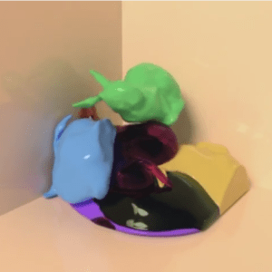 Viscous Stanford Bunnies Falling Into a Pile. Screen capture from the video illustrating multimaterial mesh based surface tracking cited below.