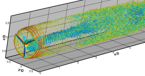 This LES computation of the wake behind SWiFT wind turbine was computed using the VWiS code from U. of Minnesota. Image from Windpower Engineering and Development. Click image for article.