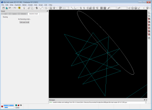 Screenshot of the dom2Ellipse script running in Pointwise. Illustrates the conversion of an arbitrary polygon to an ellipse.