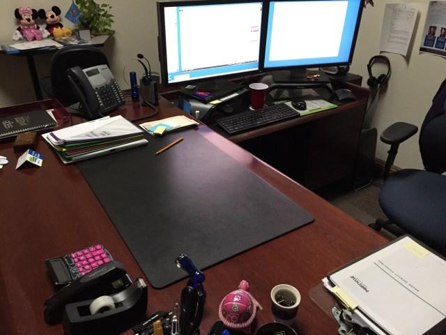 Heather's current workspace.