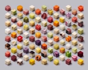 Cubes: discretized food by Lernert & Sander. Image from Lernert & Sander. Click image for source.