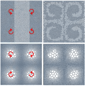 Illustration of adaptive mesh sampling from the paper Power Particles: An Incompressible Fluid Flow Solver Based On Power Diagrams by de Goes et al. Image from Cal Tech. Click image for full paper.