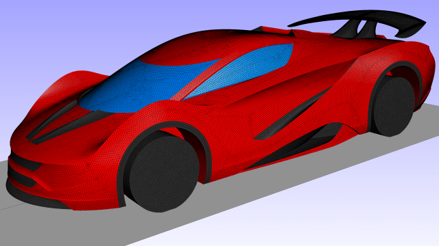 Unstructured advancing front surface grid generated on an external automotive geometry.