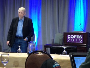 Author Bo Burlingham giving his keynote address at COFES 2015.