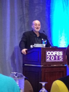 Author David Brin giving his COFES 2015 keynote address.