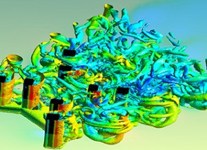 A visualization of vortical flow downstream of a drilling rig. Image from Scientific Computing. See link below.