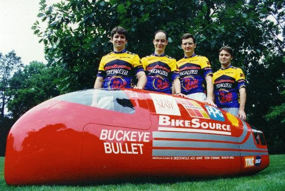 The Buckeye Bullet human powered vehicle built and raced in the 1994 International Human Powered Vehicle Association Championship.
