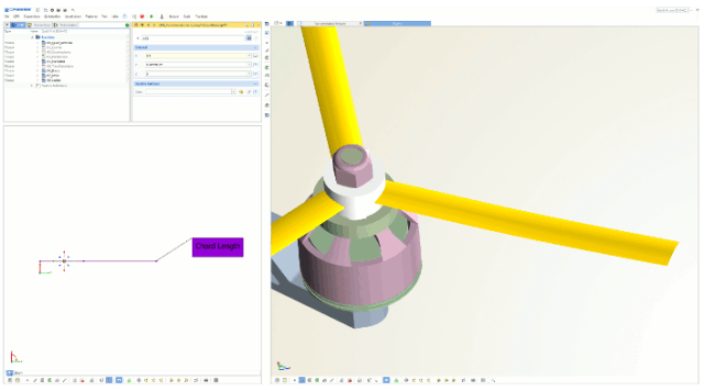 Modeling a drone's blades using CAESES. Image from Friendship Systems. Click image for article.