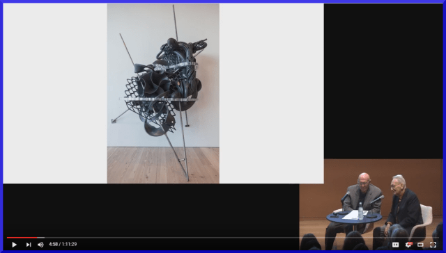 Screen capture from the video interview of Frank Stella whose retrospective recently opened at The Modern Art Museum of Fort Worth. Click image for video.