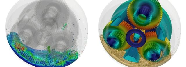 Simulation of gear box oil flow using FluiDyna. Image from Engineering.com. Click image for article.
