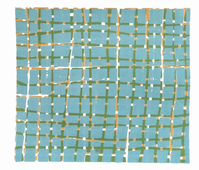 Vera Boele Keimer, Woodblock (Blue, Green, Yellow), 2012. Image from Jessica Carlisle Gallery. Click image for source.