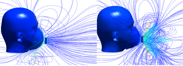 Streamlines from an ANSYS Fluent simulation of respiratory flow through a ventilated face mask. See reference above.