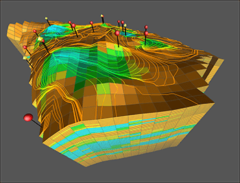 Visualization of a reservoir simulation from Tecplot RS. Image from Tecplot. See link above.