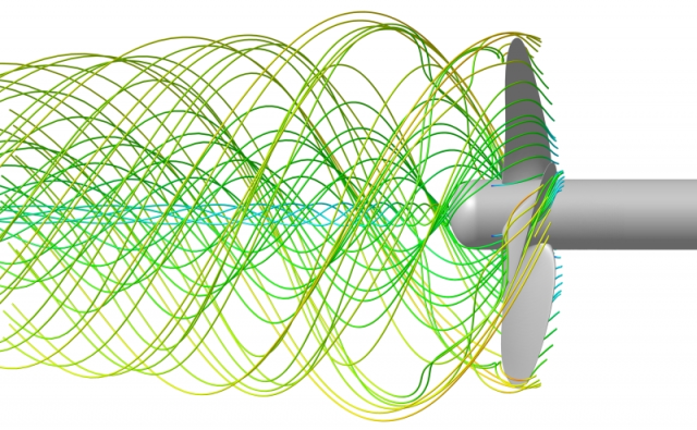 Flow solution of a propeller, showing tip and inner vortices