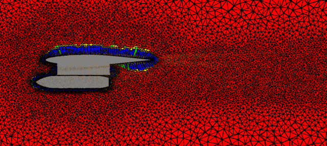 Figure 5 - wing and store example - examine of vertical slide of wing and store in Pointwise, showing points in point cloud used a source for the hexa elements (blue), prisms (green), pyramid (yellow) and tetrahedron (red)