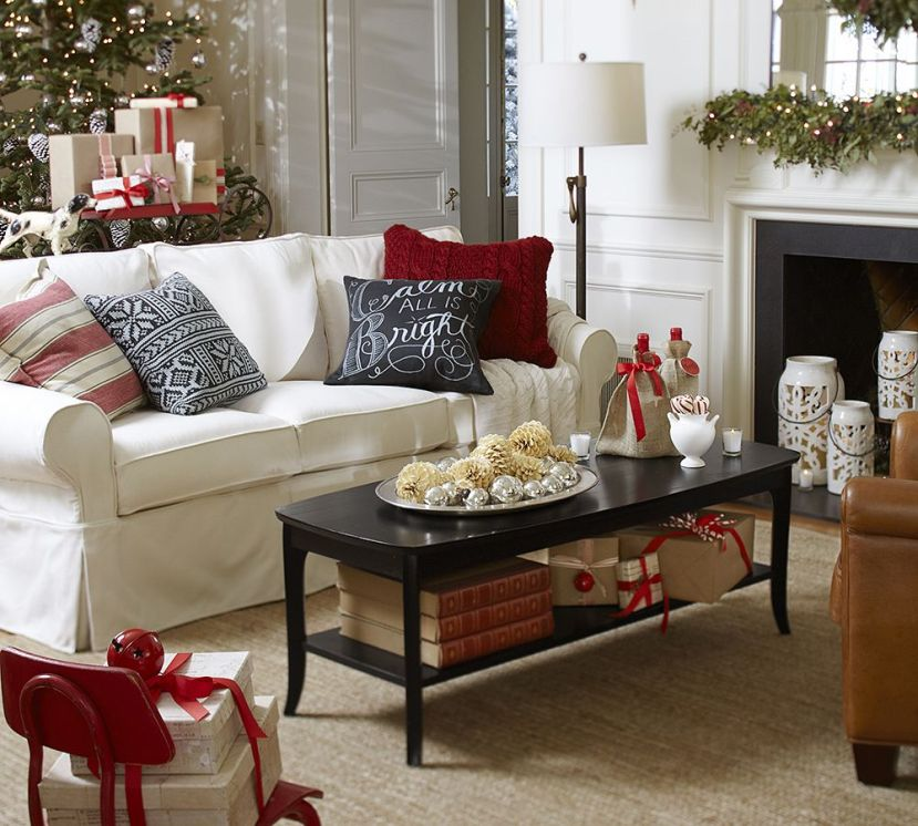 red accent living room