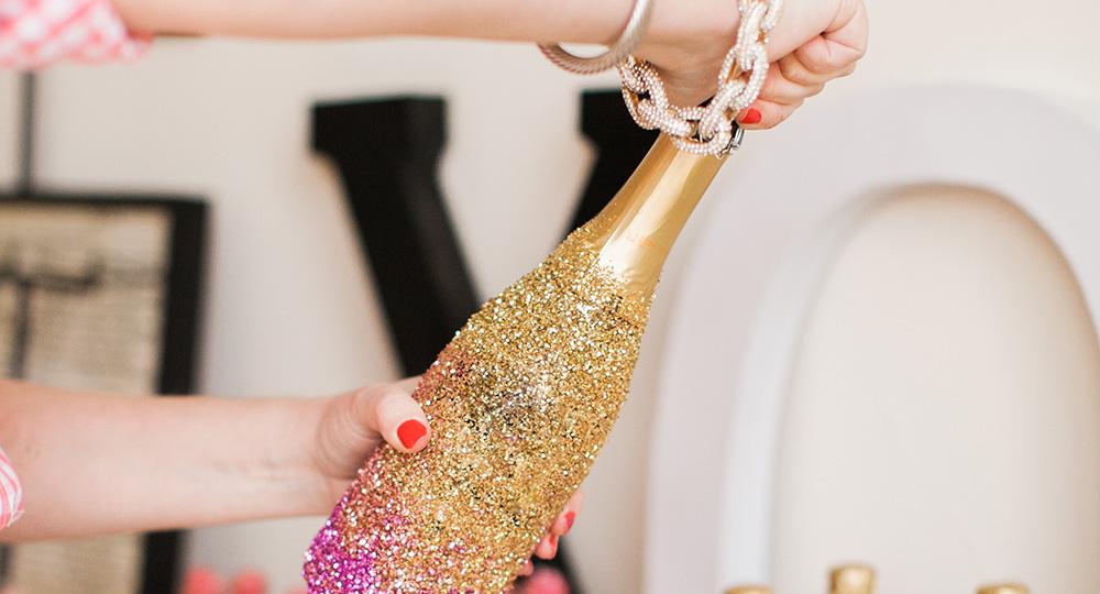 Diy Glitter Champagne Bottles For Awards Night