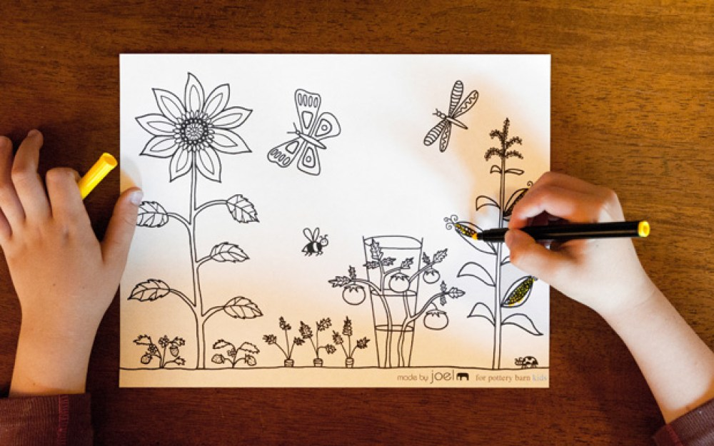A Vegetable Garden Kids Coloring Sheet