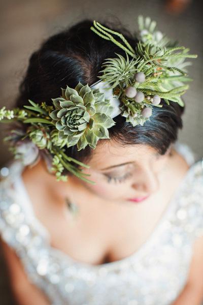 Easy Bohemian Wedding Style DIY Succulent Headband