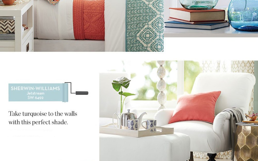 Summer Color Trends Coral and Turquoise Pottery Barn