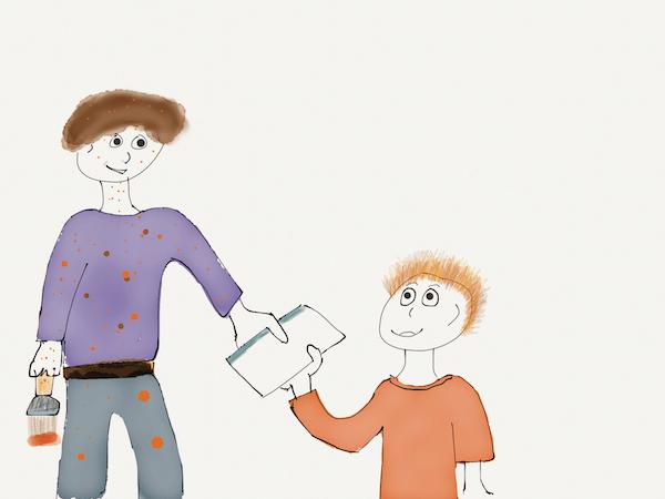cartoon dad hands child something