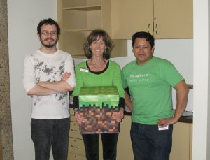 The Library's Minecraft planning & IT team: Gabe, Amy, & Victor.