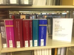 A selection of the many nonprofit resource books available at Old Town Library.