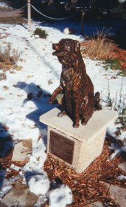 The memorial to Annie the railroad dog and Library mascot