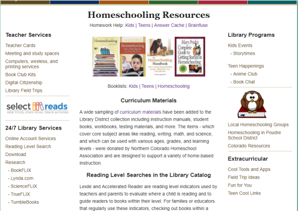 New Homeschool and Curriculum Resources Available | Poudre