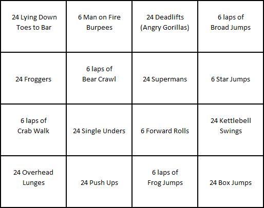 Kid Fit Bingo Card 1