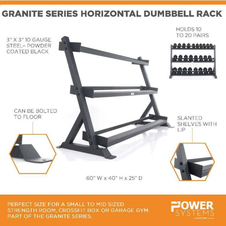 """Granite Series Horizontal Dumbbell Rack. Perfect size for a small to mid sized strength room, crossfit box or garage gym. Part of the Granite Series. 3""""x3"""" 10 gauge steel-powder coated black. Holds 10 to 20 pairs. Can be bolted to floor. Slanted shelves with lip. 60""""W x 40""""H x 25""""D"""
