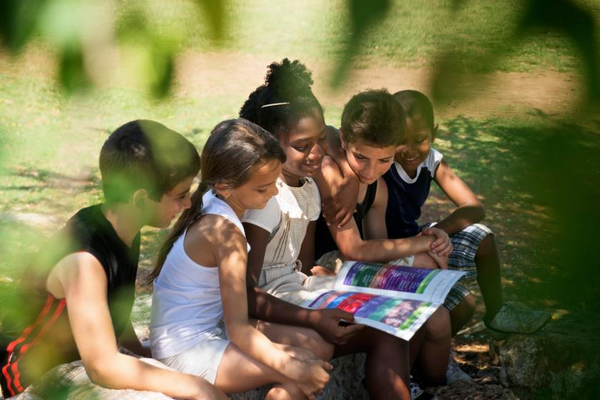Children And Education Kids And Girls Reading Book In Park
