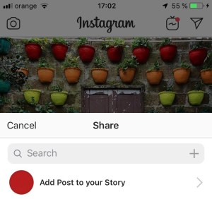 Sharing posts to Instagram stories