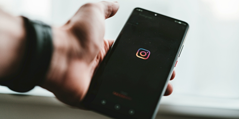 Phone with Instagram logo