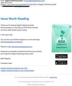 This is an example of a message we have sent to the subscribers of our Digital Publishing Guide.